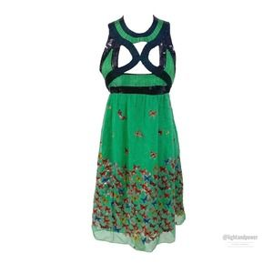 Max Studio Silk Beaded Cutout Butterfly Dress EUC